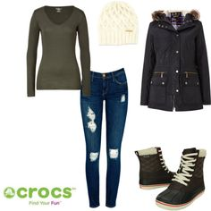 """""""Duck Boots"""" by crocsshoes on Polyvore. The #Crocs duck boot make your winter ensembles complete! #women #boot #winter #fall #waterproof #black #brown #cream #shoe #fashion #tsyle"""