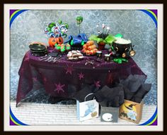 witch Halloween gothic spell table dollhouse miniature halloween ooak glows in dark halloween party. $89.50, via Etsy.