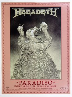 Megadeth at Paradiso Amsterdam. Megadeth Albums, Vic Rattlehead, Les Claypool, Heavy Metal Music, Thrash Metal, Band Posters, Concert Posters, Music Stuff, Music Is Life