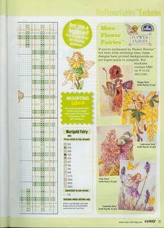 Cross stitch - fairies: Marigold fairy - Cicely Mary Barker - close-up segment (chart - part 2)