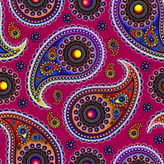 Oriental Persian Paisley, Dots - Red Blue Pink Art Print by Sitnica Paisley Art, Paisley Design, Paisley Pattern, Red Pattern, Patterned Vinyl, Dot Painting, Fabric Painting, Vector Pattern, Pattern Designs