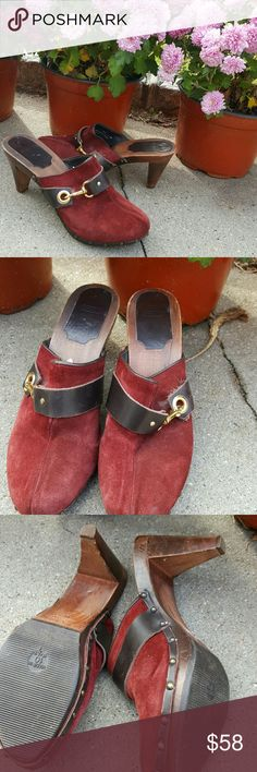 Fab Coach clogs 10 These are in good preowned condition and the souls show little wear. There is somewhere on the front toe and on the brown Coach Shoes Mules & Clogs