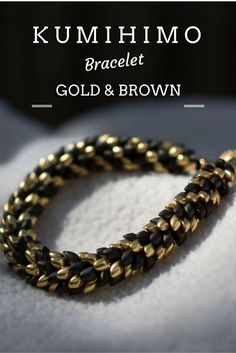 Gold & Brown beaded kumihimo bracelet, check here: idohandcraft.etsy.com…