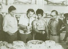 Bruce Lee celebrating his 32nd birthday on the set of Enter The Dragon (1973)
