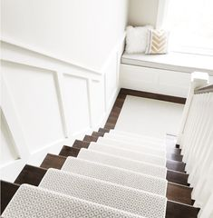 Stair runner is Stanton Carpet, Atelier Collection, Matisse Style, color is Seaside. Best Carpet, Diy Carpet, Carpet Tiles, White Carpet, Wall Carpet, Stair Carpet, Modern Carpet, Carpet Decor, Plush Carpet