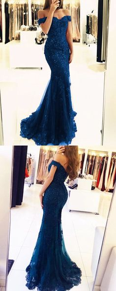 elegant navy blue lace prom dresses  off the shoulder mermaid evening gowns pearl beaded #bluewomensdress