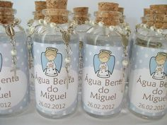 Holy water as baptism party favors. Love the idea! Communion Centerpieces, Communion Favors, First Communion Party, First Holy Communion, Baptism Party Favors, Baptism Decorations, Baby Boy Baptism, Baby Christening, Baby Dedication