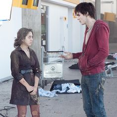 Senior Editor Kaitlin Cubria on the set of Warm Bodies with Nicholas Hoult.
