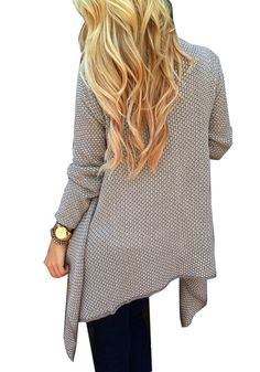 Apricot Plaid Draped Irregular Chunky Open Front Long Sleeve Loose Cardigan Sweater - Tops