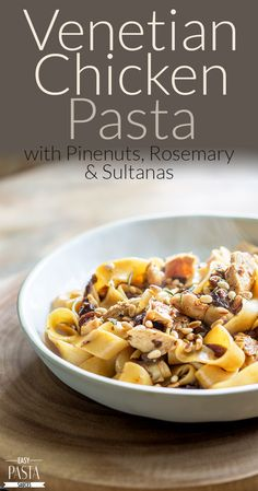 This Venetian Chicken pasta with Pinenuts, Rosemary and Sultanas is a rich and delicious pasta dinner; just grab a supermarket rotisserie chicken and follow our top tips for creating this fabulous dinner in under half an hour.