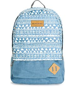 """Carry your things in style with a blue and white tribal print upper and solid blue lower with a 15"""" padded laptop sleeve and padded reinforced bottom."""