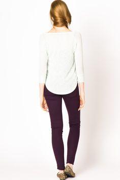 mint shirt + plum pants.