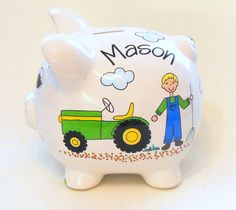 Piggy Bank with Farmer Tractor and Hay by LittleWhiteDogStudio, $39.00