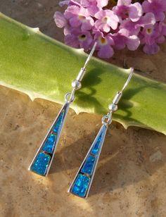 Fire Opal Earrings in Sterling Silver $37 + Free Shipping by AleaMariCo