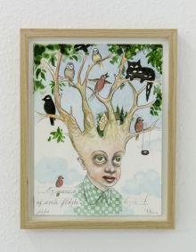 """To kunstnere laver fælles billeder som eksperiment: """"Der hvor samarbejdet er lykkes, kommer en tredje kunstner til syne. I stedet for at kæmpe om papiret, er der en åbenhed overfor den andens idéer og ikke mindst overfor tilfældet.""""Julie Nord & Peter Land: og masser små fløjtelyde, 2015 Foto: Frederik Bo Juhl Kristensen"""