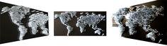 World Map Wall Sculpture - 12x24 - Metal Nails by Katia