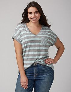 499f2488413f3 Mixed Stripe V-Neck Pocket Tee