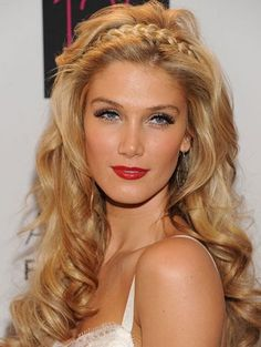 Delta Goodrem, braided hair doubling as headband, want to look like this for the wedding - if only my hair would hold the curl that long!!!
