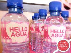 Etiquetas para botellas de agua Hello Kitty, Water Bottle, Drinks, Water Bottles, Drinking, Beverages, Drink, Beverage, Cocktails