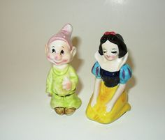 Vintage and Rare  Disney Snow White and Dopey Salt and Pepper Set