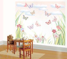 Jennifer Clark Butterly And Flowers Mural For Little Girls Room Decorating Ideas For Little Girls Room