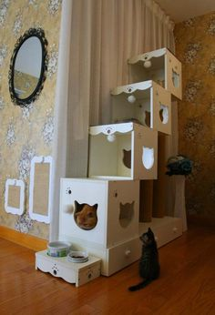 These are sold in China. I have posted another plan in this album for a different style that is a knock off of this companies products. Should be pretty easy to figure out. Im thinking leaving it natural (no paint) would be best for the cats. I Love Cats, Crazy Cats, Cool Cats, Diy Pour Chien, Cat Stairs, Cat Towers, Cat Enclosure, Cat Room, Cat Condo