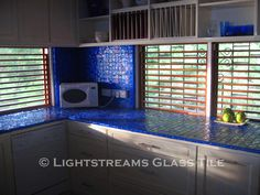 Kitchen counter and backsplash done in Lightstreams Renaissance Collection Intense Blue