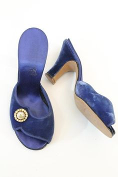 Done in a bright cobalt blue velvet. Little rhinestone and pearl Daniel Green Slippers, Hue Color, Groom And Groomsmen, Floral Crown, Periwinkle, Blue Velvet, Cobalt Blue, Shades Of Blue, Wedding Colors