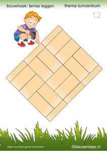 Deel 2: 15 voorbeeldkaarten om een terras te leggen in de bouwhoek, kleuteridee, thema tuincentrum, make a terrace in the block area 12. Block Center, Block Area, Cube Pattern, Pattern Blocks, Preschool Math, Teaching Math, A Classroom, Fun Learning, Montessori