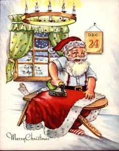 Very elfy looking Santa Christmas greeting card.  clb