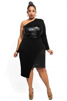 One-shoulder Leatherette Bust and Side Dress