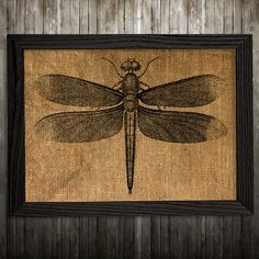 Dragonfly print. Insect poster. Wildlife decor. Burlap print. PLEASE NOTE: this is not actual burlap, this is an art print, the image is printed on