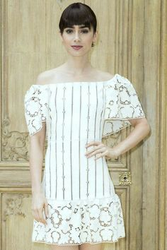 Lily Collins attends the Valentino Spring 2017 fashion show during Paris Fashion Week in Paris, France. Fashion 2017, Fashion Show, Paris Fashion, Lily Collins Style, Stunningly Beautiful, Off Shoulder Blouse, Valentino, My Style, Celebrities