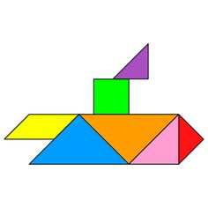 Tangram Submarine - Tangram solution #139 - Providing teachers and pupils with tangram puzzle activities