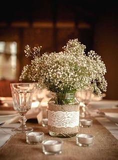 Decorazioni per il matrimonio: le più belle - Centrotavola in vetro rivestito di juta