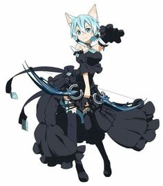 Okay I love the black versions? Would love to see this stuff appear in the anime Sword Art Online Asuna, Sinon Sao, Kirito, Character Concept, Character Art, Character Design, Loli Kawaii, Kawaii Anime, Neko