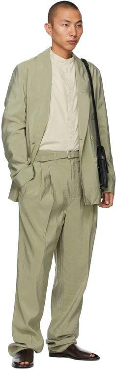 Lemaire: Black Small Satchel Bag | SSENSE Green Belt, Shirt Blouses, Shirts, Embossed Logo, Welt Pocket, Double Breasted, Wool Blend, Military Jacket, Beige