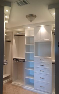 Closet Creations built this custom closet! White Closet, Closets, Building, Home Decor, White Cabinet, Armoires, Decoration Home, Wall Cupboards, Room Decor