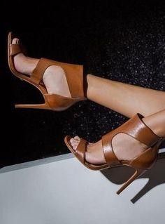 Camel Leather Heels                                                                             Source