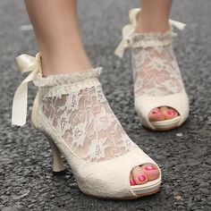 New Ladies Wedding Lace Bowknot Ankle Heels Pumps Shoes | eBay