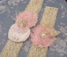 Vintage Bridal Garter Set Lace Rolled Rosette by nanarosedesigns, $30.00