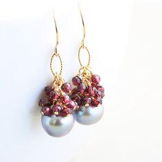 Pearl Dangle Earrings January Birthstone Garnet Cluster