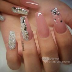 Light pink gel coffin nails design, Acrylic Coffin nails long, Glitter pink coffin nails design summer, Sparkle pink coffin nails with rhinestones, Coffin Nails Designs Summer, Acrylic Nail Designs, Nail Art Designs, Long Acrylic Nails, Coffin Nails Long, Pink Coffin, Long Nails, Spring Nail Art, Spring Nails