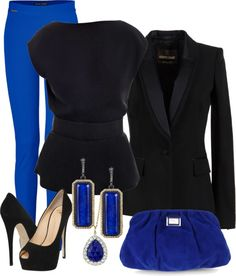 """Blue Pants Evening"" this would be great fo holiday parties. I even have blue pants already. Rock Chic, Work Fashion, Fashion Outfits, Womens Fashion, Turquoise Clothes, Looks Street Style, Rocker, Up Girl, Madame"