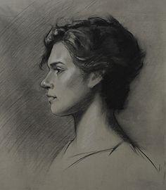 Kathryn by Stuart Fullerton Charcoal ~  x