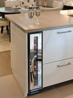 Decorating Ideas Space saving ideas are modern kitchen design trends. Lushome presents a narrow cooler by Vinotemp, the company selling wine cabi Modern Kitchen Cabinets, Wine Cabinets, Modern Kitchen Design, Modern House Design, New Kitchen, Kitchen Decor, Kitchen Cooler, Kitchen Ideas, Kitchen Island