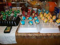 Angry Bird Cake pops I made for my son's 5th birthday.