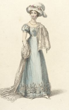 1824 May 1st. London.  Blue Dinner Dress with puffed sleeves, white lacy shawl, white hat trimmed with pink roses and plumes.  Rudolph Ackermann Fashion Plate collections.lacma.org