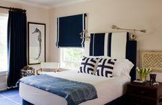 Classy dark blue and white bedroom