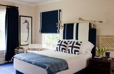 Classy dark blue and white bedroom
